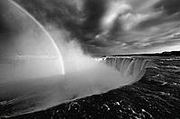 Rainbow over Horseshoe Falls of Niagara Falls. Ontario, Canada.