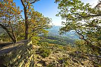 lookout to the town Baden-Baden from the Ritterplatte on the Battert rock, natural environment above the spa town Baden-Baden in the autumn light, out...