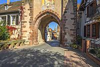 medieval town gate, upper gate of the village Boersch, on the Wine Route of Alsace, France.