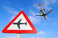 Air traffic signal on Highway. Talavera la Real.Badajoz province. Extremadura. Spain