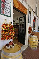 food shop on the Plaça la Llibertat (Freedom Square), Ciutadella de Menorca, Menorca, Balearic Islands, Spain, Europe.