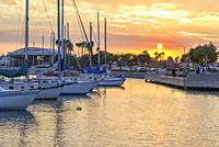 San Diego Harbor at sunset. San Diego, California.