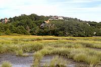 Homes on the marsh in Wellfleet, Cape Cod, Massachusetts, United States.