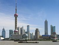 View of the Pudong district in Shanghai, regarded as the commercial centre of the city.