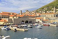 Old Port in Dubrovnik Old City, Croatia, UNESCO world heritage site, Dalmatia, Dalmatian Coast, Europe.