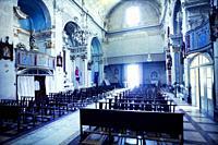 Interior of a Church.Santo-Pietro-di-Tenda, Corsega, France.