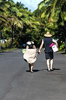 Going to the beach on a hot, sunny day, Big Island, Hawaii.