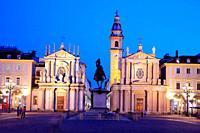 Piazza San Carlo. Santa Cristina church of 1639 (left) San Carlo church of 1619 (right). Both baroque. Turín. Italy.