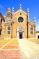 The gothic style facade of Madonna dell'Orto church - sestiere Cannareggio, Venice - Italy.