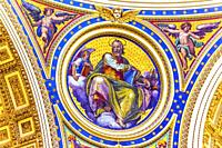 aint Matthew Gospel Writer Evangelist Mosaic Angels Saint Peter's Basilica Vatican Rome Italy. Mosaic right below Michaelangelo's Dome, Created in 160...