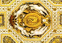 Angels Golden Dragon Ceiling Saint Peter's Basilica Vatican Rome Italy. Vatican and ceiling built in 1600s.