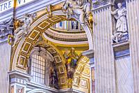 Arch Mosaic Statues Saint Peter's Basilica Vatican Rome Italy. Built in 1600s over St. Peter's tomb.