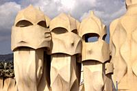 Sculpted chimneys on rooftop of La Pedrera, Barcelona, Spain.