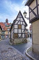 North gable end of the listed half-timbered house of Finkenherd 1 in Quedlinburg, Saxony-Anhalt, Germany.