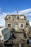 Rustic fishermans shack, Menemsha, Chilmark, Martha's Vineyard, Massachusetts, USA.