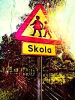 Swedish road sign beware of children, school nearby, Sweden, Scandinavia
