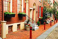 Historic brick homes bring a colonial elegance to Elfreth's Alley in Philadelphia.