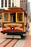 A Cable Car Prepares to Move on California Street, San Francisco.