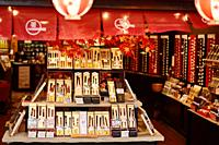 Japanese chopsticks on a display in a gift shop in Kyoto, Japan.