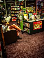 The reading corner of a local village bookstore. Cape Town, South Africa.