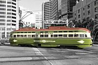 Vintage trolley riding in downtown San Diego, California