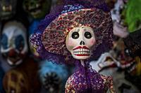 Skulls, Dia de los Muertos (Day of the Dead), San Angel Market, Mexico City, Mexico