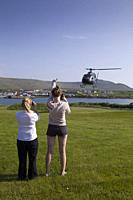 Helicopter departure for observation from Skellig Islands, County Kerry, Ireland, Europe.