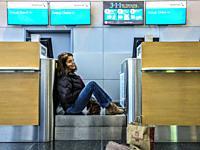 NEW YORK NY USA JFK airport Passengers waiting.