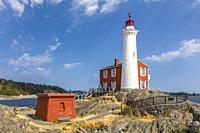 Fisgard Lighthouse National Historic Site, on Fisgard Island at the mouth of Esquimalt Harbour in Colwood, British Columbia, Canada.
