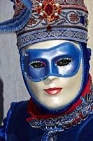 Traditional Venetian mask at Carnival 2017, Venice, Italy.