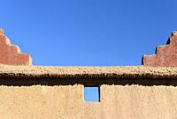 Typical adobe wall, Palmeraie de Skoura, Skoura, Morocco, Africa.