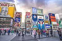 Japan Osaka City, Dotombori District.