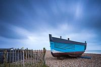 Fishing boat on the beach in Shoreham-by-Sea, West Sussex, England.
