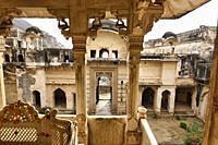 Interior of the atmospheric ruined Bundi Palace, Rajasthan, India.