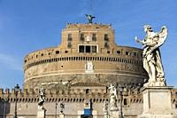Castel Sant'Angelo view from the bridge Rome Italy.