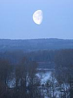 Poland. Early spring. Moonset on Bug river. Podlasie region