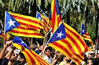 Estelades, independentist flags. Barcelona, Catalonia, Spain.