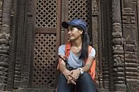 Relaxing at Pashupatinath temple in Durbar Square in Bhaktapur, Nepal.