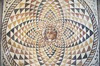 Europe, Greece, Peloponnese, ancient Corinth, Archaeological museum, mosaic from a floor of a roman villa with the head of Dionysos.