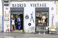 An antiques store in a street of the Rastro, Latina quarter, Madrid city, Spain