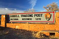 Entrance sign, Hubbell Trading Post National Historic Site, Arizona.