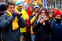 musicians, Catalan independence movement, December 2017, Brussels, Belgium
