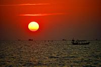 Sunset with fishing boat, Sihanoukville, Cambodia, South East Asia, Asia.