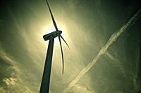 Windmill for electric power production at sunset, Zaragoza Province, Aragon, Spain.