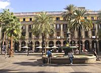 Plaça Reial, Barcelona, Spain.