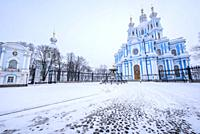 Smolny Cathedral, St. Petersburg, Russia, Europe.