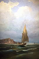 Fishing boat in a storm. 1880-1885. oil on canvas. Painting collection 'seascapes' by Constantinos Volanakis at the Theocharakis Foundation for the Fi...