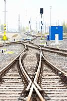 Railway tracks in station Zilina, Slovakia.