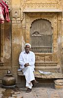 Teashop owner at the Patwa Haveli, Jaisalmer, Rajasthan, India.