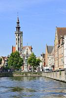 Belgium, Bruges, World Heritage Site, Canal leading to Jan Van Eyck square and the former Hansa quarter.